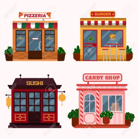 Vector illustration of  buildings that are restaurants, cafe, fast food.